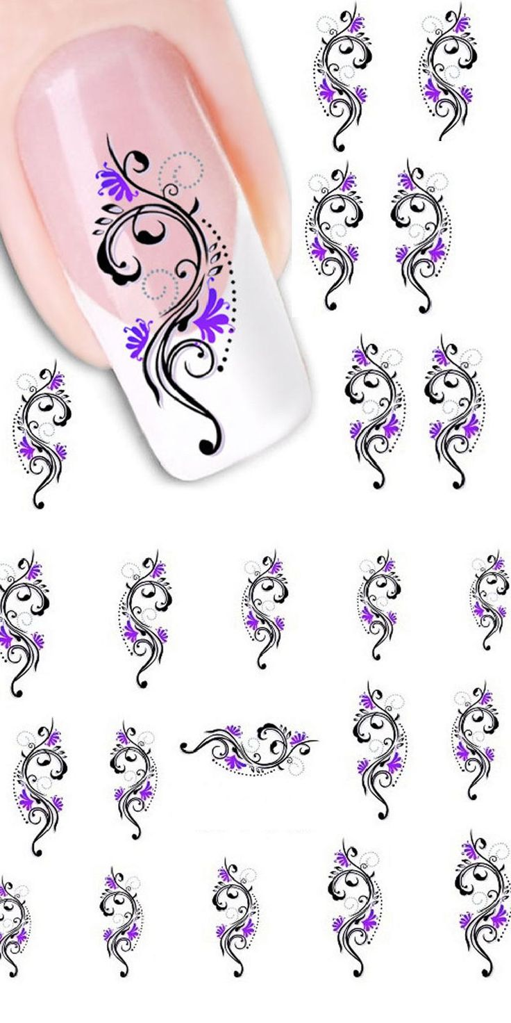 [Visit to Buy] 1 sheet Beauty Purple Flower Water Transfer Nail Sticker Nail Art Decals DIY Decorations French Manicure Tips Nail Tools Hot #Advertisement