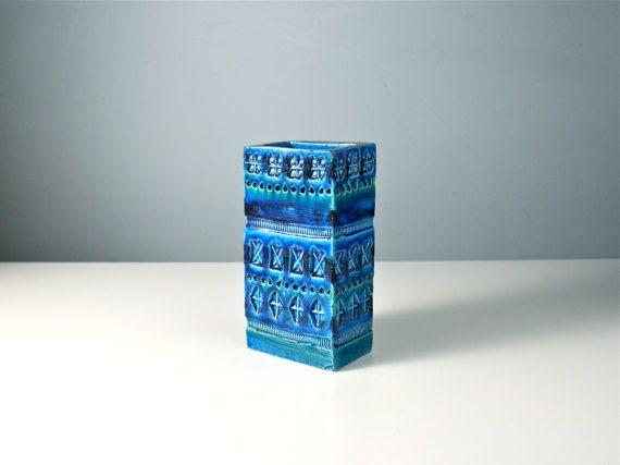 Bitossi Rimini blue slab vase. Rectangular mid by AnEyeOnStyle