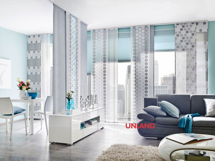 Unland Calvin mit Plissee, Vorhang, Fensterideen, Gardinen und Sonnenschutz - curtains, contract fabrics, pleated blinds, roller blinds and more. Made in Germany