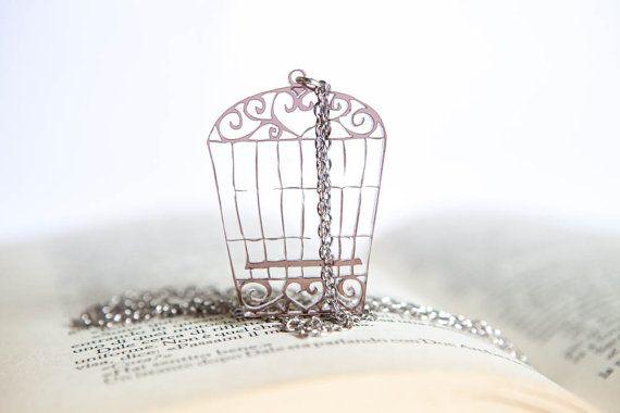 Necklace with smoky transparent Cage pendant di PasBijoux su Etsy