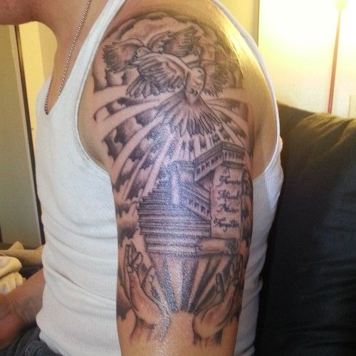 Stairway to heaven tattoo sleeve 124229 large heaven for Stairway to heaven tattoo chest