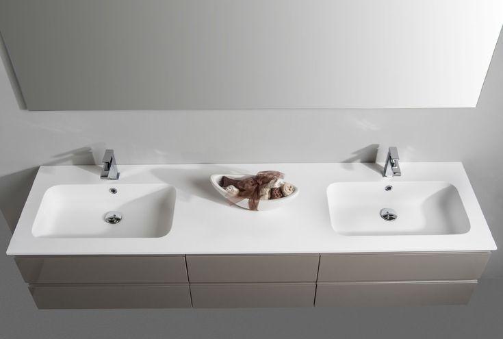 Particolare lavabo doppio in Cristalplant. Euro Bagno arredobagno e Mobili da bagno bathroom furniture since 1973