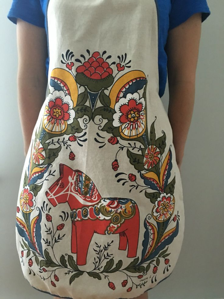 Vintage Dala Horse Apron, Swedish Horse Apron, Scandinavian Apron, Inger A Apron, Swedish Folk Art, Scandinavian Kitchen,…