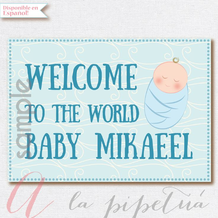 Welcome Baby sign. Nursery Sign. Baby Poster . Printable nursery poster. Boy nursery. Light blue baby sign. Instant Download Poster by Pipetua on Etsy https://www.etsy.com/listing/235015913/welcome-baby-sign-nursery-sign-baby