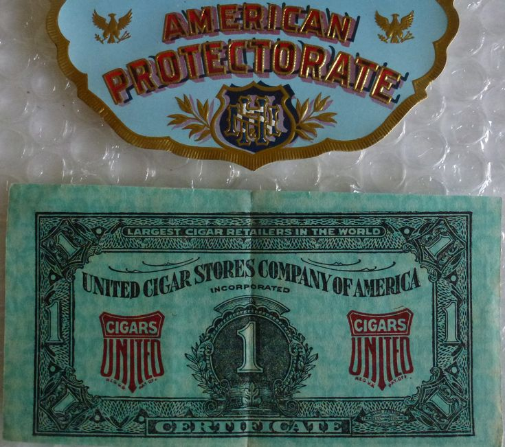 aMERICAN PROTECTORATE CIGAR LABEL UNITED CIGAR STORE OF AMERICA COUPON neocurio #cigar #smokingfetish #vintage #labels #ebay #neocurio