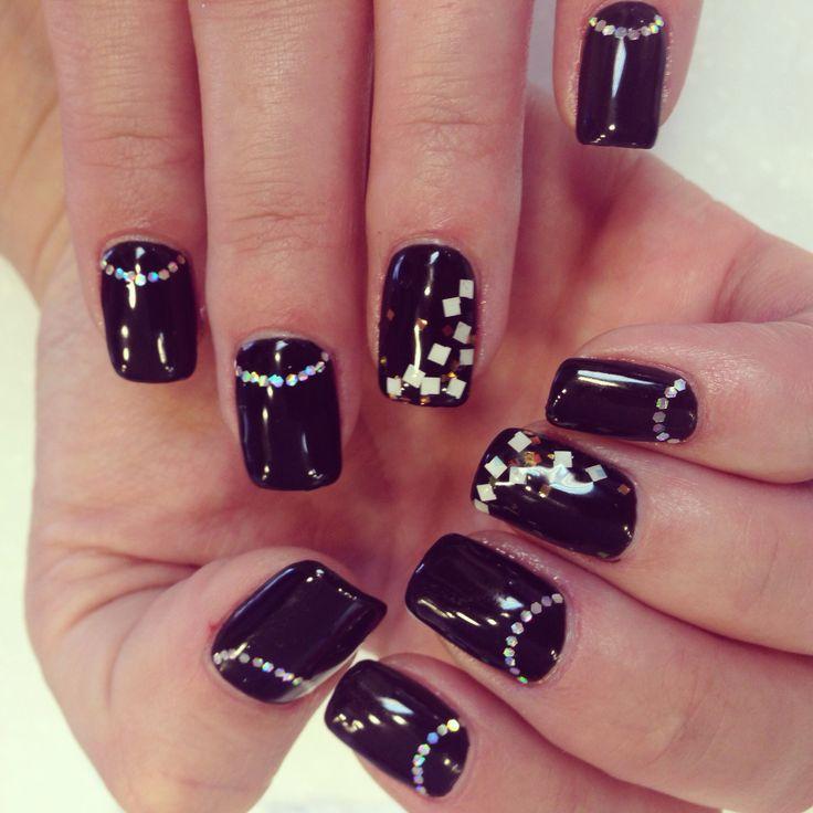 #nails , nail art , cute nail design with black gel color