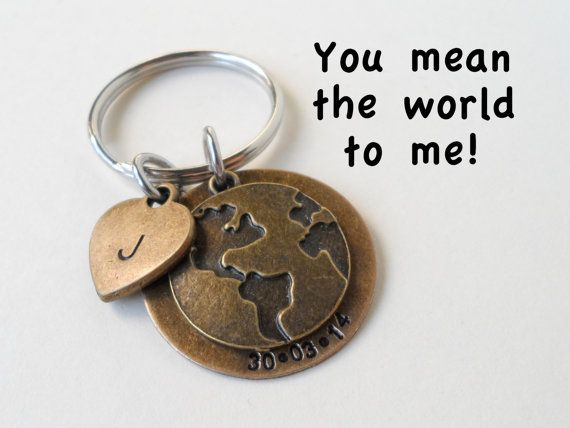 world globe keychain anniverary keychain couples keychain hand stamped keychain wedding date bronze 8 year anniversary gift earth gift