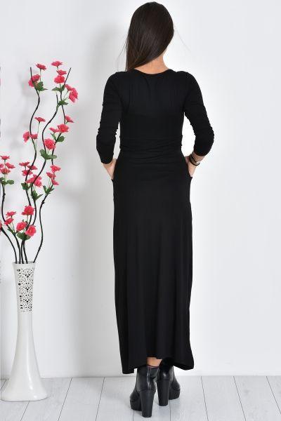 Siyah Roba Büzgülü Cep Detaylı Elbise