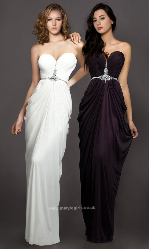 Strapless Sweetheart Beaded Floor Length Chiffon Prom Evening Gowns 2013