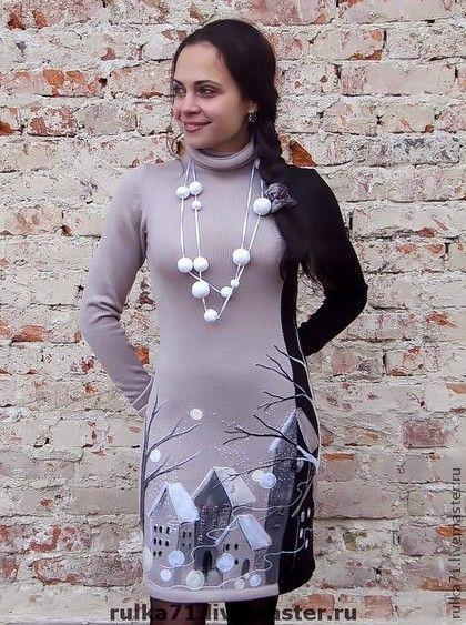 """платье """" День&Ночь """" - день,ночь,зима,авторский трикотаж,Снег,городской пейзаж"""