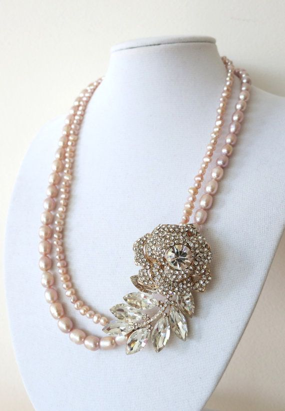 Rose Gold Crystal Rose and Leaf with Freshwater Pearl Double Strand Necklace - Bridal Necklace, Hollywood Classic, Pink Gold Weddings, Chic, www.colormemissy.com, by ColorMeMissy