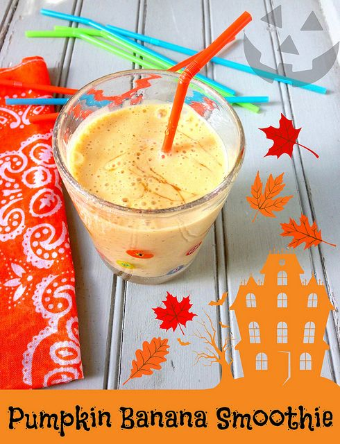 Pumpkin Banana Smoothie via MealMakeoverMoms.com/kitchen #healthy #halloween #smoothie #snack #nutrition #kids