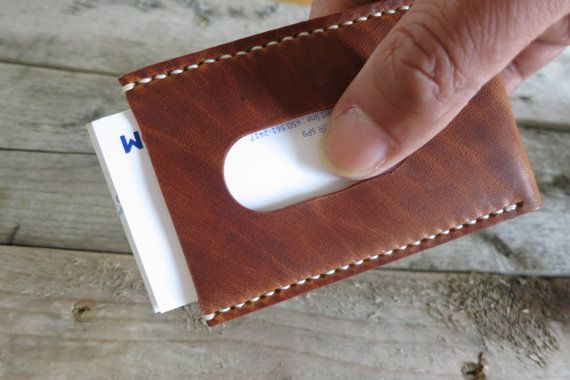 Personalized Horween Leather Business Card Holder by TQleather