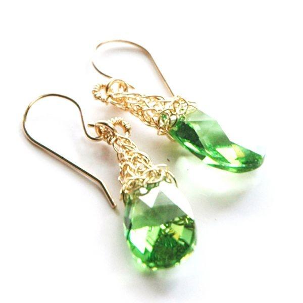 Swarovski crystal earrings , green pastel