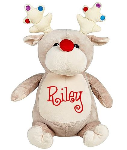 Personalised Christmas Reindeer Cubbie Teddy. Your child's name embroidered on a festive reindeer's tummy to celebrate their first Christmas. WowWee.ie | €34.99