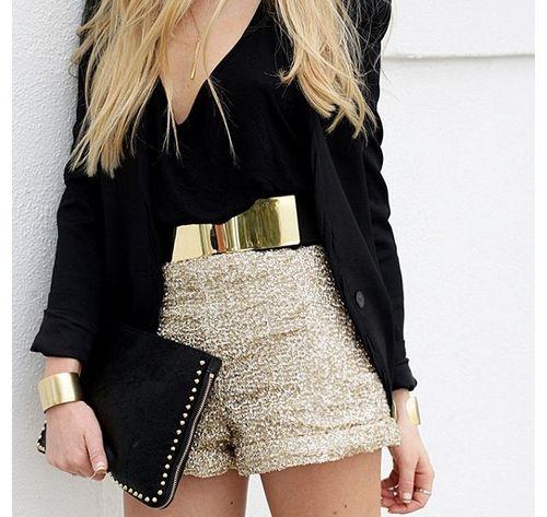 sparkle shorts + metallic belt GORGEOUS