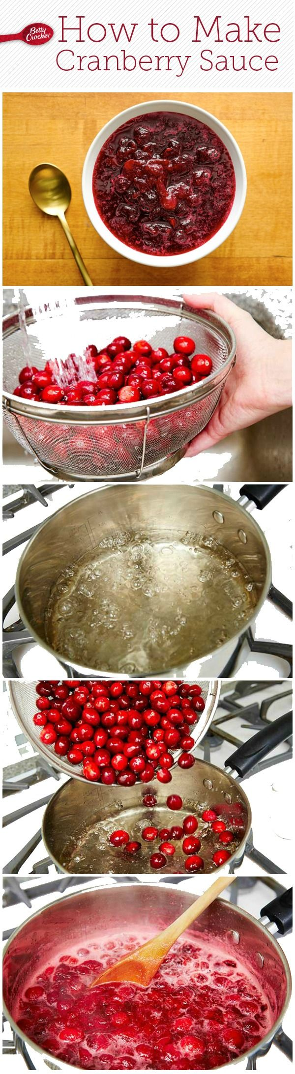How to make cranberry sauce.  Cranberries, sugar and a quick boil for this sweet Thanksgiving side!