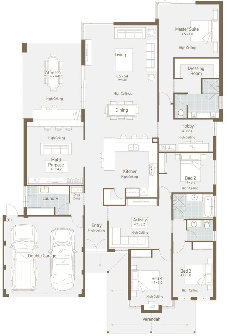 This floor plan has everything the growing family could ever need or want! 4 bedrooms, 3 bathrooms, 4 living/activity areas and a study! There are so many living areas in this home you would never be on top of one another.