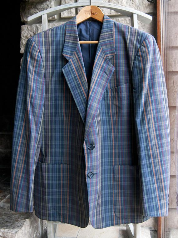 b2473720fb7 Vintage plaid blazer jacket for mens of the brand Yves Saint Laurent (YSL).  Retro casual jacket, very colorful! φ Size: not indicated. Fits large.