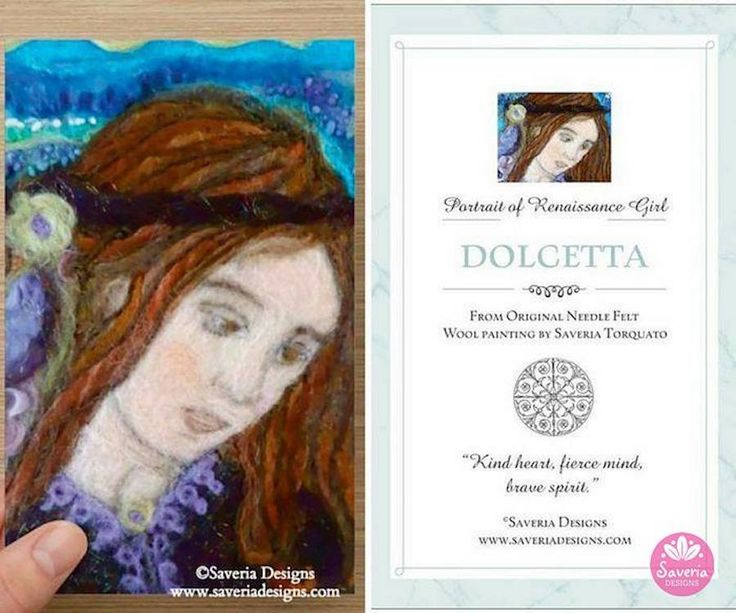 Dolcetta Renaissance Needle Felt Art Card with Inspirational Quote Insert by Saveria Designs