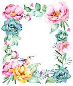 Watercolor frame border with roses,foliage,succulent plant