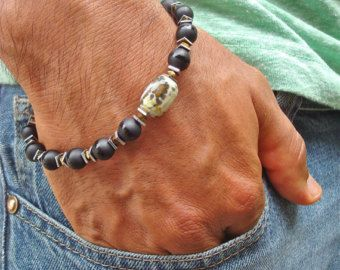 Men's Bracelet with Black Carved Quartzite Baked от tocijewelry