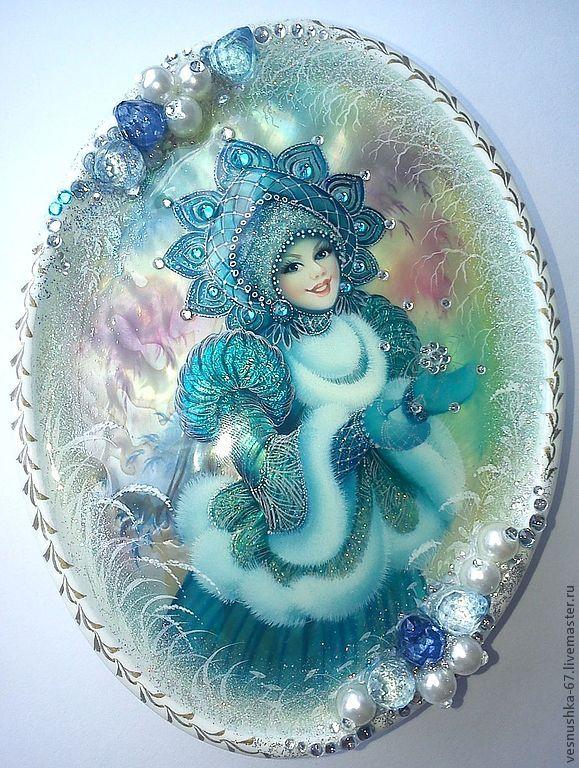 Купить Снегурочка - белый, лаковая миниатюра, Папье-маше, масло, перламутр натуральный, снегурочка