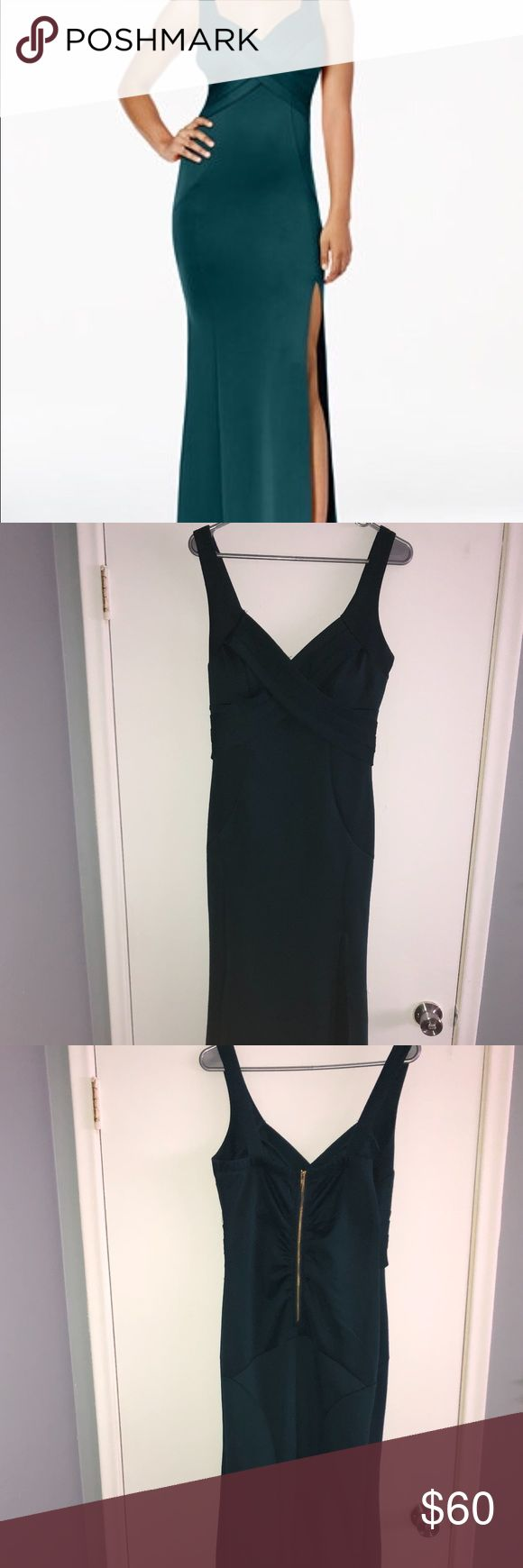 Emerald Green Gown Size Large Worn once I am asking $50 obo This is a gorgeous A-line silhouette, emerald green gown, it has an exposed gold zipper in the back and will show off curves! It has never been altered. Emerald Sundae Dresses Prom