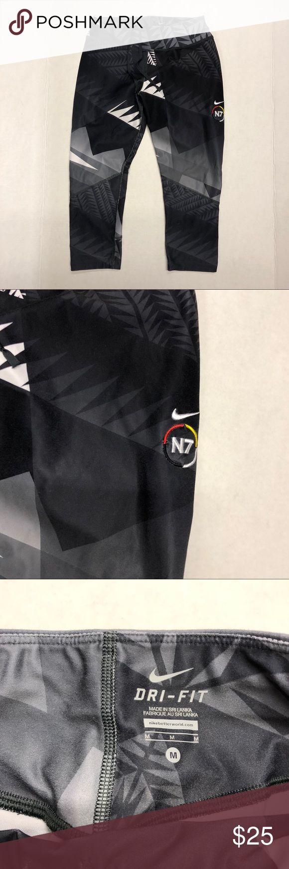 NIKE DRI FIT N7 LEGGINGS SIZE: M 100% Authentic Pre-Loved NIKE N7 Grey/White abstract print | Gently used worn in excellent condition | Size: Medium | Thank you for looking at my closet and please contact me with any inquiries. Have a awesome day! Nike Pants Leggings