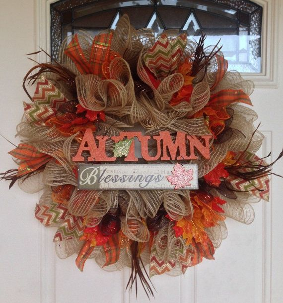 Fall Wreath Fall Deco Mesh Wreath Front by PastNPresentsByAlana