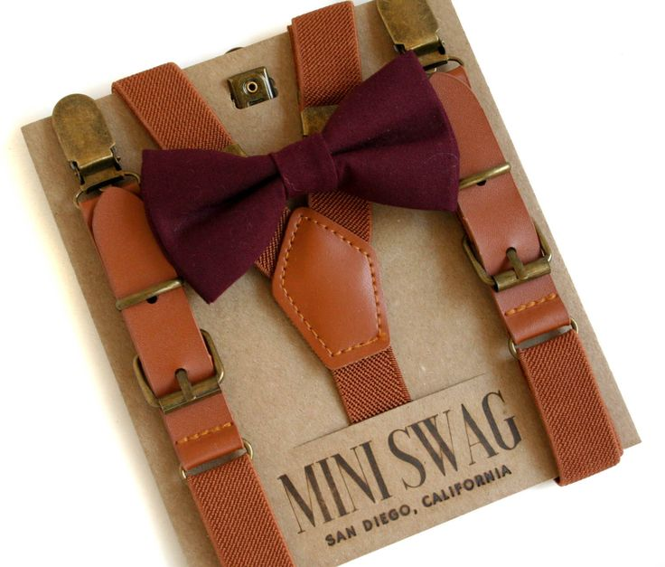 Marsala Bow Tie and Leather Suspenders, Boys Bow Tie Suspenders Set, Mini Swag Textiles, Toddler Suspenders Bow Tie, Ring Bearer Outfit, Fall Wedding Outfit, Marsala Wedding Ideas, Baby Boy Wedding Outfit, Toddler Suspenders, Trendy Kids Clothes, Fall Family Pictures