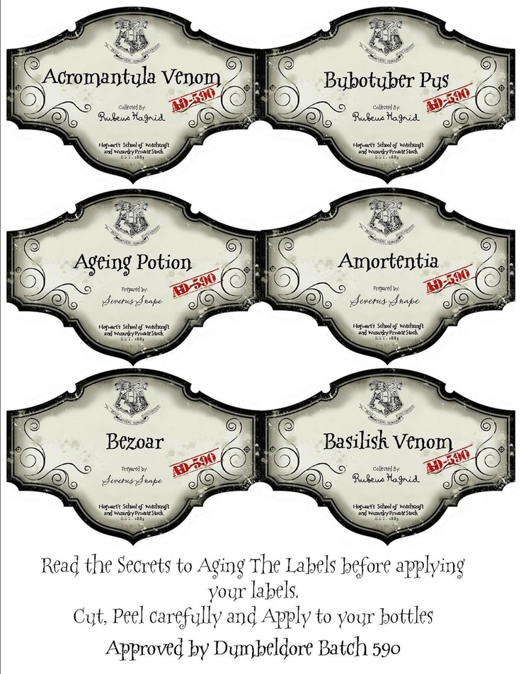 harry potter labels