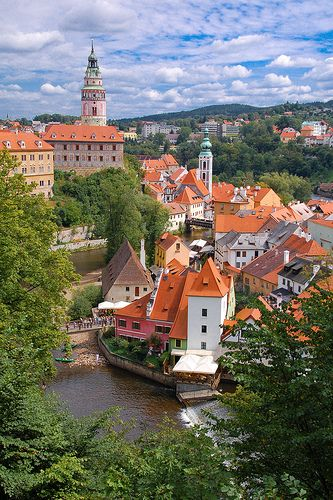Cesky Krumlov. Czech Republic.   Such a cute little place, the town winds around an S shaped river.  Yummy food!