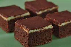 Mint Chocolate Brownies . . . . just like we had when i was little.  This is a good recipe, but i added mint extract to the brownies as well. THey were a huge hit at the office.
