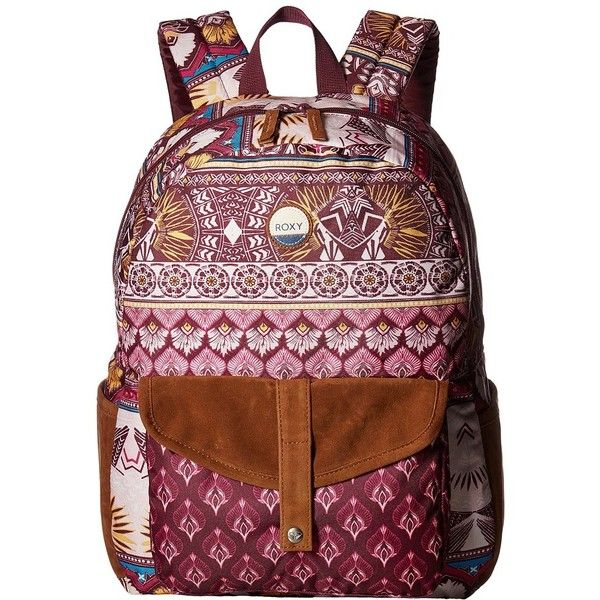 Roxy Carribean Backpack (Grapewine Ax Hippie Hop Border) Backpack Bags ($40) ❤ liked on Polyvore featuring bags, backpacks, polyester backpack, roxy backpacks, hippie backpacks, strap bag and hippie bags
