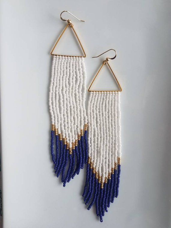Nautical Handwoven Earrings Seed Bead Earrings Fringe Earrings