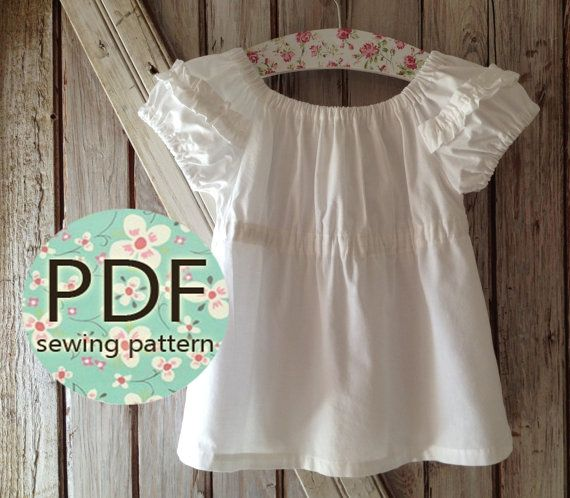 Sweet Cheeks - Peasant Top Pattern PDF. Girl's Sewing Pattern. Girl's Top Pattern. Toddler Top Pattern sizes 1-10. $7.50, via Etsy.