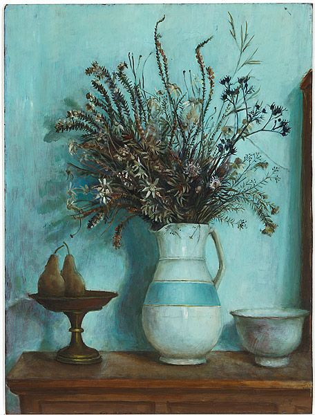 Margaret Olley, 'Hawkesbury wildflowers and pears', c.1973, oil on composition board, National Gallery of Australia, Canberra, purchased with the assistance of the Members Acquisition Fund 2011 © Margaret Rose Preston Estate. Licensed by Viscopy