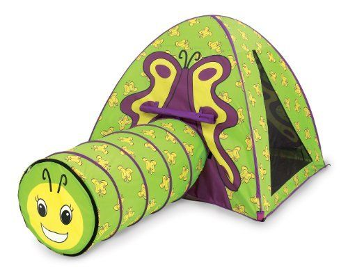Pacific Play Tents Butterfly Tent & Tunnel Com. by Pacific Play Tents. $63.99. From the Manufacturer                Butterfly Tent & Tunnel Com., Tent comes with it's own carry bag and tunnels folds flat for easy storage.                                    Product Description                Draw kids out of their cocoons with the Butterfly Play Tent and Tunnel Combination. The fun, colorful, butterfly graphics and large play area lure kids in and get them moving ...