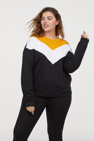 922316a5ccd H M+ Printed Sweatshirt - Mustard yellow color-block - Ladies