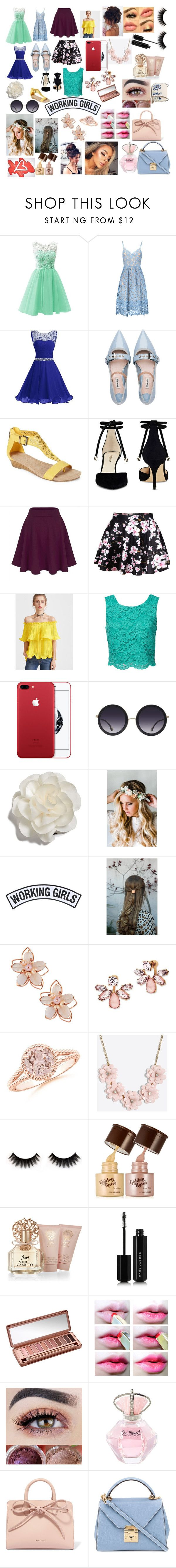"""""""Spring Party"""" by fashionista0333 ❤ liked on Polyvore featuring Miu Miu, Kenneth Cole Reaction, Nine West, WithChic, Alice + Olivia, Cara, Emily Rose Flower Crowns, Working Girls, NAKAMOL and Marchesa"""