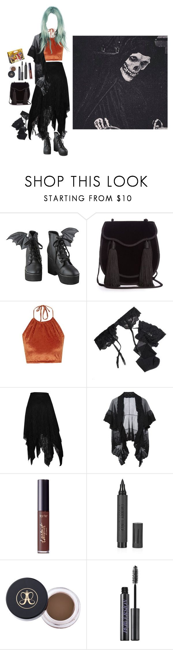 """""""💀🎃"""" by sierraelizabitch ❤ liked on Polyvore featuring Yves Saint Laurent, The Ragged Priest, Reger by Janet Reger, tarte, Topshop, Anastasia Beverly Hills, Urban Decay and Lime Crime"""