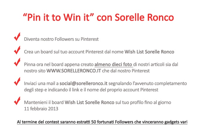"Contest ""Pin it to win it"" Sorelle Ronco"