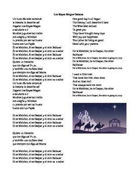 Lyrics for Tatiana Reyes Magos song. Letra para la cancion de los reyes magos de Tatiana. Three kings day. Epiphany. Epifania