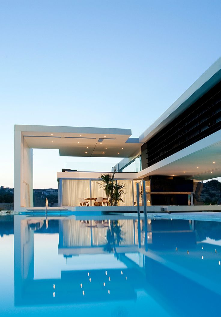 modern home with pool.