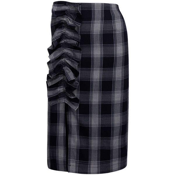 Navy Plaid Ruffle Detail High Waist Pencil Skirt ($37) ❤ liked on Polyvore featuring skirts, high waist knee length pencil skirt, high waisted skirts, high-waisted skirts, high waisted pencil skirt and cotton skirts