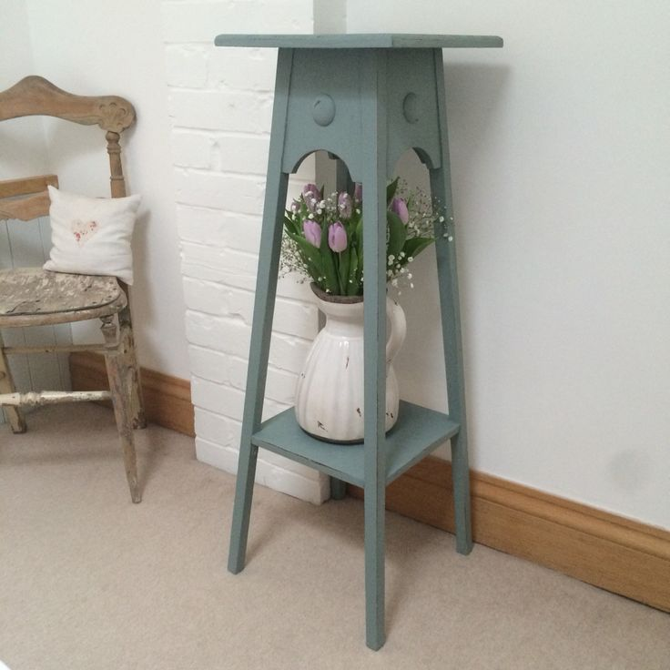 x For Sale x A Plant Stand painted using Duck Egg Blue by Bleu-Clair. Now for sale at £65. x