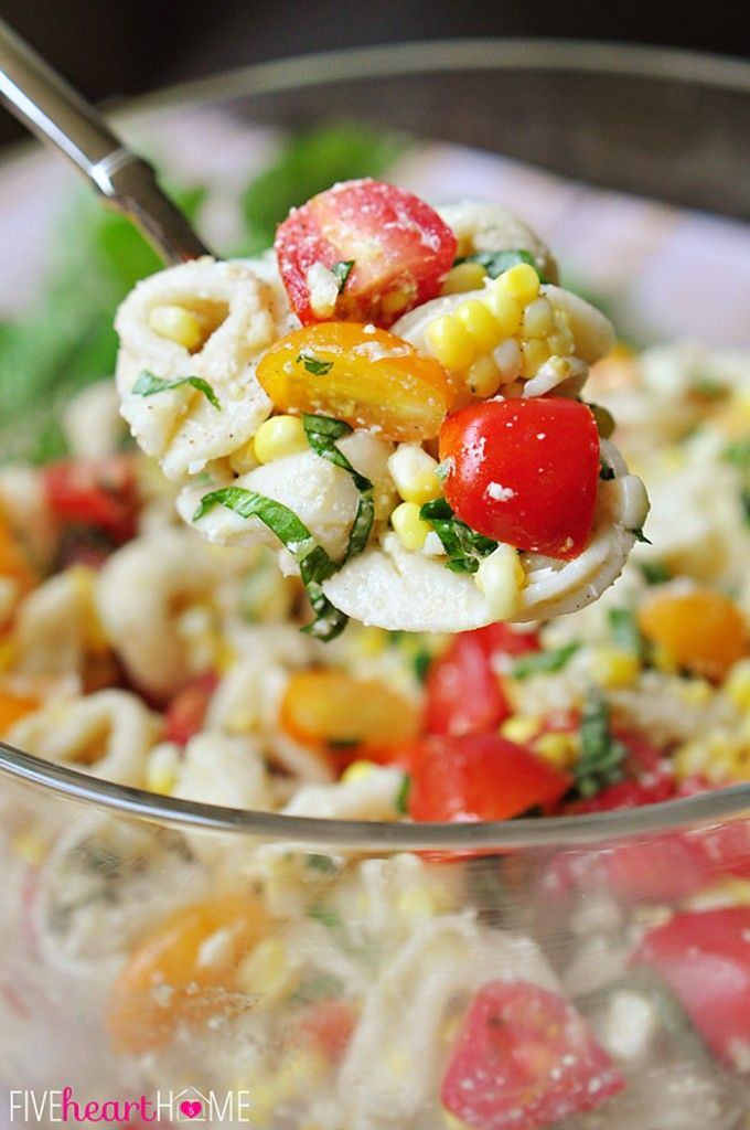 Tortellini Pasta Salad with Tomatoes, Basil, & Fresh Corn ...