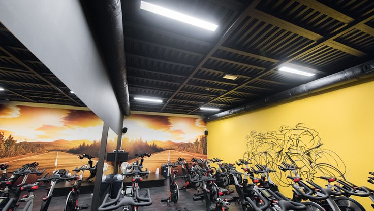 sala do indoor cyclingu oświetlona oprawami Pegaz   indoor cycling space iluminated with HSK LEDY light  #LED #ledlight #sports #light  http://hskledy.com.pl/realizacje,1183,hala-sportowa-hotelu-scout.html