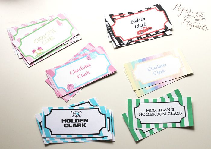 labelsx6 free designs. could be used for pirate/car/rainbow/high tea/ woodland parties as food labels??